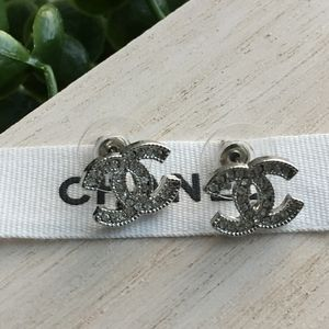 Authentic Chanel Silver Crystal  Studs